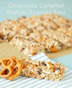 No Bake Chocolate Caramel Pretzel Granola Bars from www.a-kitchen-addiction.com (Bake Goods Chocolate)