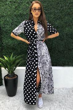 Rae Black Snakeskin and Polka Maxi Shirt Dress Pretty Summer Dresses, Summer Dresses For Women, Cute Dresses, Maxi Shirt Dress, Dress Up, Cute Wedding Dress, Fall Outfits, Clothes For Women, Elegant