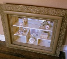 antique gesso curio display shelves shadow box frame and mirror