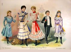 'Misses and Children's Evening Dress'. An American Gilded Age, fashion plate, that was featured in the women's magazine, The Delineator, published in NYC - December c.1898. ~ {cwlyons} ~ (Image: Magazine Art)