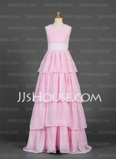 Junior Bridesmaid Dresses - $126.69 - A-Line/Princess Scoop Neck Floor-Length Chiffon Junior Bridesmaid Dress With Sash (009016224) http://jjshouse.com/A-Line-Princess-Scoop-Neck-Floor-Length-Chiffon-Junior-Bridesmaid-Dress-With-Sash-009016224-g16224