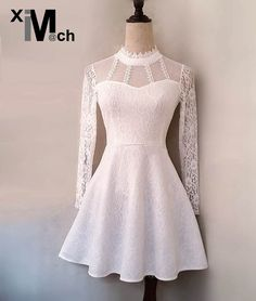 Cheap lace dress, Buy Quality mini dress directly from China sexy lace dress Suppliers: XIM MATCH Elegant Sexy Lace Dress Stand-collar Back Zipper Fit and Flare Mini Dress Black White color DR05928D