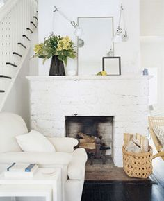 Source Unknown {white rustic eclectic vintage modern living room with white brick fireplace} | Flickr - Photo Sharing!