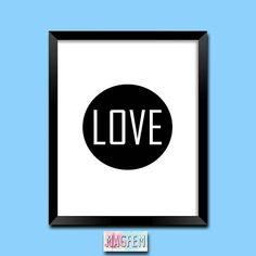 Love Digital Prints Black and White Prints Modern Art Print