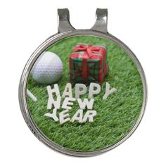 Happy New Year to golfer with golf ball and gift Golf Hat Clip Golf Gifts  For ce3391adfeda