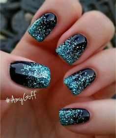 black nails with blue glitter ombré effect