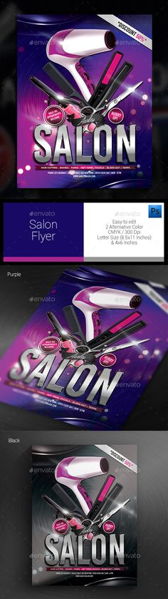 Beauty Salon Flyer Salons, Business cards and Business - hair salon flyer template
