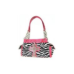 """Pink Zebra Purse + Wallet Set by P&G Collection. $59.99. ?Measurements(approx.): 14""""W x 8.5""""H x 5""""D. ?Two leathrette shoulder straps with metal rings (approx.): 10"""" drop ?Stud and rhinestone accents. ?Crystal decorated cross. ?Three top closures with magnetic snap flap. Middle one with a zipper. ?A zippered closure on back. ?A pocket with magnetic snap flap on each side. ?One interior zip pocket and two interior open pockets ?Product Description: ?Mearurements (..."""