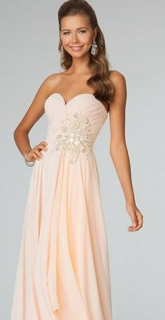 Cream pink strapless long prom dress. Available in many other colors