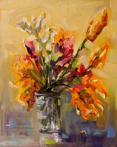 ARTOUTWEST FLORAL Garden Still Life art oil painting study original by Diane Whitehead, painting by artist Diane Whitehead