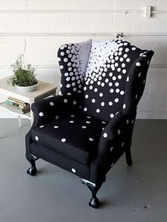 Wing Back Chair polka dots Yes! Perfect for my chair makeover!