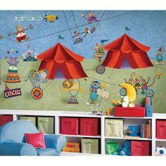 #oBedding - #York Wallcoverings Circus Animals Wall Mural - Big Top Wallpaper Accent Decor - AdoreWe.com