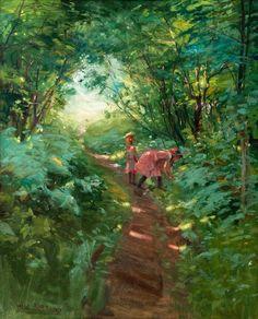 Girls in a Leafy Forest - Alex Rapp , Finnish, Oil on canvas, x 58 cm. Helene Schjerfbeck, Chur, Vincent Van Gogh, Dappled Light, Scandinavian Art, Scandinavian Paintings, Art Themes, Modernism, Art Plastique