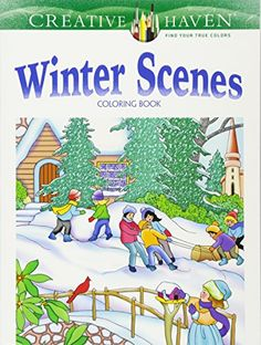 Creative Haven Winter Scenes Coloring Book  This adult coloring book of 31 charming winter scenes will warm your heart! All-original designs include young children gazing out of frosty windows and building snowmen, lovely snow-covered villages, wild animals roaming icy landscapes, horse-drawn sleds, and more. Illustrations are printed on one side of perforated pages for easy removal and display. Specially designed for experienced colorists,  Winter Scenes  and other Creative Haven® a..