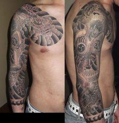 腕,肩,二の腕,肘,龍,雷神,額,星,七分袖,竜,カラス,ブラック&グレイ,ブラック&グレー,烏タトゥー/刺青デザイン画像