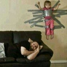 Lmao... Dad babysitting....