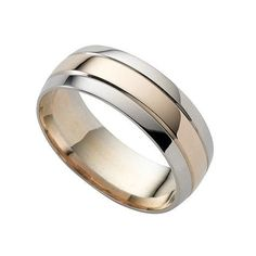Mens Silver And Rose Gold Wedding Band Strips Round Edge In Between Them I Like This To Match My Engagement Ring