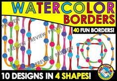 50%OFF-#WATERCOLOR #BORDERS IN 4 #SHAPES: #RECTANGLE, #CIRCLE, #SQUARE & #OVAL!