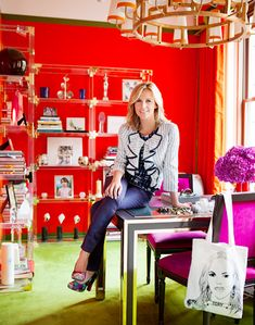 Wonderful use of color in Tory Burch's office.