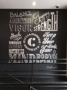 Stencil1 installation typography using chalk at a gym.