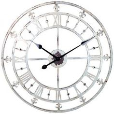 Found it at Wayfair - Oversized Rustic Country Style Tower Wall Clock with Fleur-de-lis