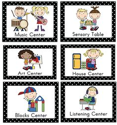 I decided to make some new center signs for my classroom this year. (I intended to add these to the site sooner, but had some technical issues with the PDFs.) Terms of Use. Updated July 2012: Polka Dot Border Signs! Art Center Sign: Polka Dot Border Blue Border: Small | Large | English/Spanish Blocks Center …
