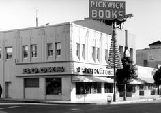 """Pickwick Books, 1938-1968, on the NE corner of Hollywood Blvd. and McCadden Pl. -- """"Russian immigrant Louis Epstein started Pickwick in 1938. The store, named after Charles Dickens' classic 'The Pickwick Papers,' soon became a favorite haunt of movie stars and bibliophiles..."""" [http://articles.latimes.com/1995-05-25/news/we-5692_1_chapter-ends] Photo, 1973, source: http://hollywoodphotographs.com/detail/7412/pickwick-bookstore-on-ne-corner-of-hollywood-blvd-mccadden-pl/"""