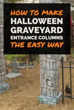 These DIY Halloween cemetery pillars make an awesome Halloween graveyard entrance. Add a Halloween cemetery fence and some spooky Halloween decorations and you'll have the best yard haunt in the neighborhood! Halloween Graveyard, Spooky Halloween Decorations, Halloween Art, Holidays Halloween, Halloween Witches, Happy Halloween, Halloween Costumes, Asylum Halloween, Halloween Parties