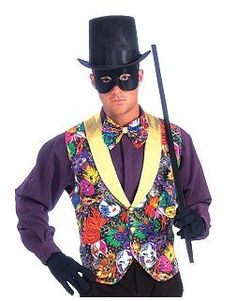 Mardi Gras Costume from CostumeDiscounters.com.   Share your festive side with the New Orleans throng in the Mardi Gras Multi Color Vest and Bow Tie. This outfit features a vest with an interesting theme.  Get your rebate from RebateGiant.