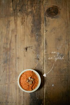 this stuff is addictive. in its red peppery, walnutty goodness i just want to dive into a pool filled with it and then chill on a pita floatie. it would be like cloudy with a chance of meatballs only it'd be more like sunny with no chance of natural disaster because with a good muhammara, ev