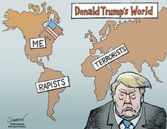 Cartoon: The World According to Donald Trump - The New York Times New York Times, Donald Trump Images, Canal No Youtube, Stupid People, Smart People, Political Cartoons, Anti Trump Cartoons, Political Satire, Make You Smile