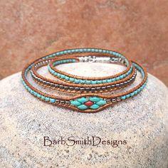 Southwest Bracelet-Turquoise Silver Beaded Wrap Bracelet-Magnet Clasp Bracelet-Custom Sizes-Triple Mini in Turquoise n' Coral Bead Loom Bracelets, Beaded Wrap Bracelets, Jewelry Bracelets, Bead Jewellery, Beaded Jewelry, Handmade Jewelry, Vintage Jewellery, Antique Jewelry, Beaded Leather Wraps