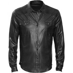 Black leather-look button-down shirt for men, from the Queen of Darkness gothic clothing brand. Stretchy fabric with distressed texture.