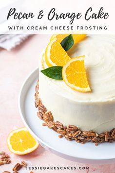 A two-layer orange drizzle cake filled with chopped pecans and decorated with orange cream cheese frosting. This easy layer cake recipe is the perfect Spring bake recipe! #jessiebakescakes #springbakingideas #orangepecancake #orangedrizzlecake #creamcheesefrosting #citruscake #easyeasterrecipes #easycakerecipes #orangecake Layer Cake Recipes, Easy Cake Recipes, Baking Recipes, Dessert Recipes, Cake With Cream Cheese, Cream Cheese Frosting, Orange Drizzle Cake, Easy Easter Recipes, Citrus Cake