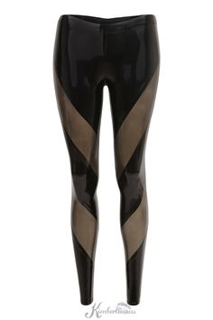 DESCRIPTION:    Striking panelled leggings. Ankle length pull on design.    Shown in black and translucent smoky black panels. Please provide your