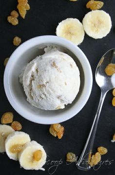 Banana Rum Raisin Ice Cream - a fun and easy recipe to make without an ice cream maker! http://scoopadventures.com