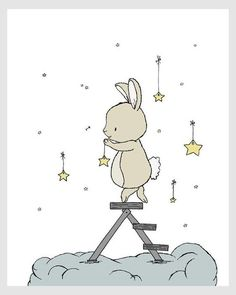 Bunny hangs the star nursery art, children . Bunny hanging on the stars nursery art, kids wall decor, baby room Kids Wall Decor, Art Wall Kids, Art For Kids, Art Children, Children Pictures, Room Decor, Baby Prints, Nursery Prints, Nursery Wall Art