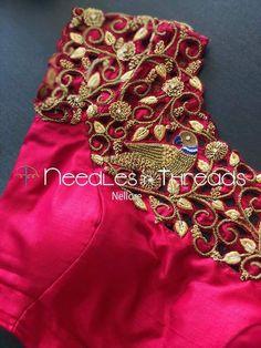 19 Innovative cutwork blouse designs for silk sarees 2019 - TBG Bridal Store Cutwork Blouse Designs, Stylish Blouse Design, Fancy Blouse Designs, Bridal Blouse Designs, Blouse Neck Designs, Latest Blouse Designs, Peacock Blouse Designs, Patch Work Blouse Designs, Jute