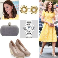 Kate chose to wear a yellow brocade dress by Jenny Packham. She paired it with her Monsoon Fluer wedges, a new £142 Oscar de la Renta Pearl Sun Star Button earrings, carried her Alexander McQueen gray suede clutch and wore Cartier Ballon Bleu watch.