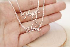 $54.00 Two names necklace 2 names necklace double chain name