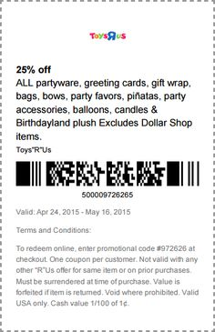 Pinned April 27th: 25% off party supplies at Toys #R Us or online via promo code 972626 #coupon via The #Coupons App
