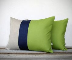 awesome Color Block Stripe Pillow in Lime Green, Navy and Natural Linen (Set of 2) by Ji... by http://www.best99-home-decor-pics.club/home-decor-colors/color-block-stripe-pillow-in-lime-green-navy-and-natural-linen-set-of-2-by-ji/