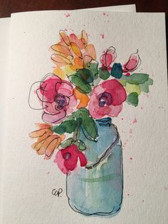Flowers Watercolor Card / Hand Painted Watercolor by gardenblooms