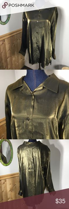 """Vintage Olive Gold Metallic Shirt 🍁Fall Trend🍁 Metallics is a huge trend this fall/winter 2016. This is a gorgeous vintage button down blouse in excellent condition. From the brand: Bentley, so you know it's the vintage gold standard. 😉 This is a plus size shirt (size 20) or can be worn as an oversized tunic with a belt and faux leather leggings. Perfect style! Measurements (laying flat): armpit to armpit: 25.5""""; bottom hem: 25.5""""; sleeve: 25""""; total length: 32"""". Bentley Tops Button Down…"""