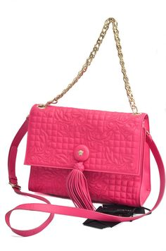 698177026706 Gianni Versace Vanitas Pink Leather Gold Chain Crossbody Bag