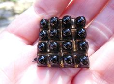 Vintage Bimini Button Type Glass Developments Backmark Black Bubble Top 31mm