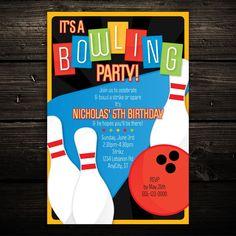 Retro Fun Bowling Party Birthday Invitations - Set of 10 - Any Color #LittleBeesGraphics #BirthdayChild
