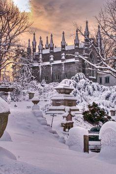 Snow in Mt. Auburn Cemetery outside Bigelow Chapel. / FALL into WINTER