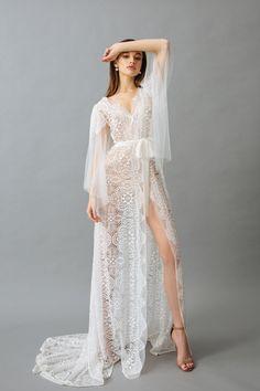 "Lace Robe with Airy Sleeves ""Maria"" Lace Bridal Robe, Bridal Boudoir, Bridal Robes, Wedding Lingerie, Wedding Undergarments, Wedding Underwear, Honeymoon Lingerie, Women Lingerie, Luxury Lingerie"