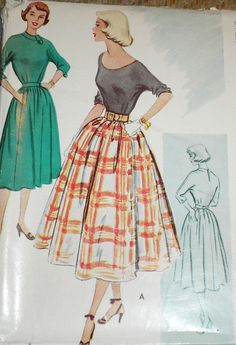 Vintage 1950s McCall's 8725 Blouse & Full Circular Skirt Pattern --- this blouse design on the right would be great done as a T-shirt in jersey. Would have to be careful styling it though, or it could read totally 80s...